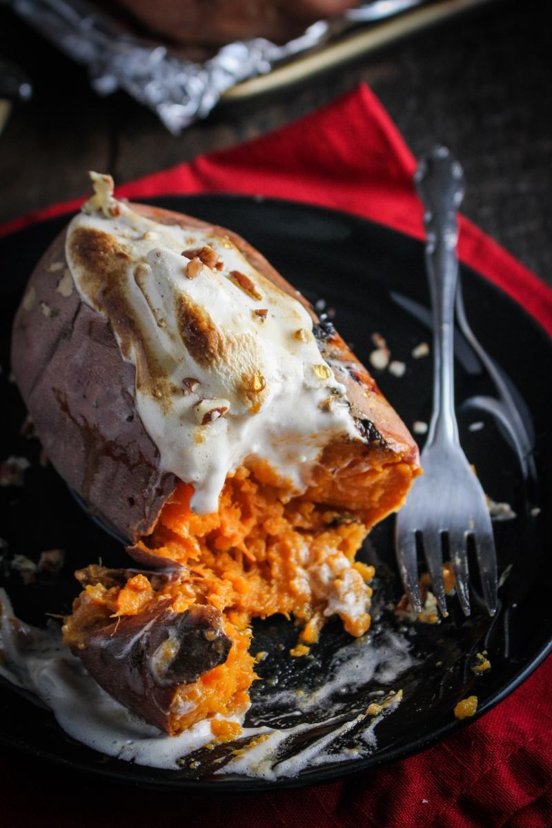 Baked Sweet Potatoes with Maple Meringue Topping {Katie at the Kitchen Door}