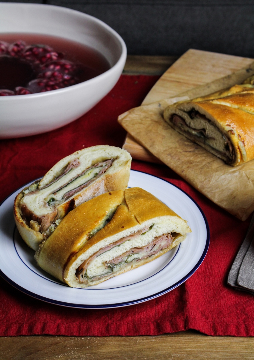 Blue Cheese, Fig Jam, and Ham Stromboli {Katie at the Kitchen Door}