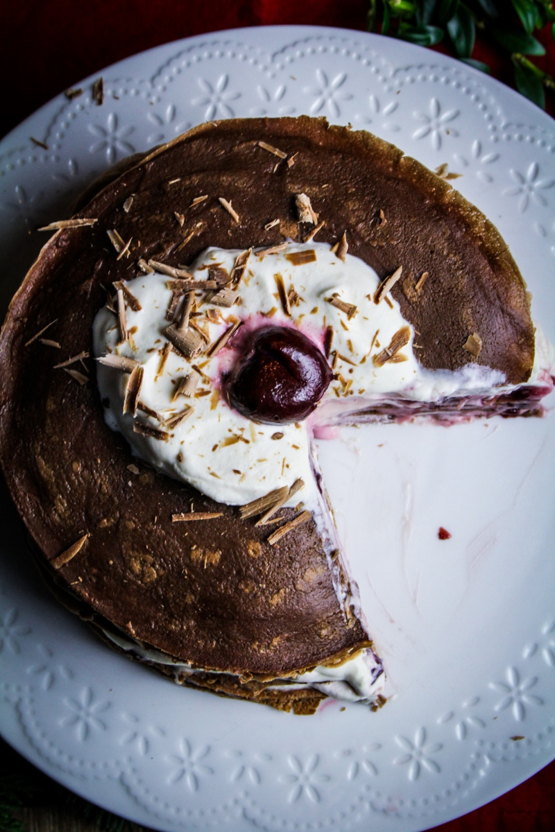 Chocolate Cherry Crepe Cake {Katie at the Kitchen Door}