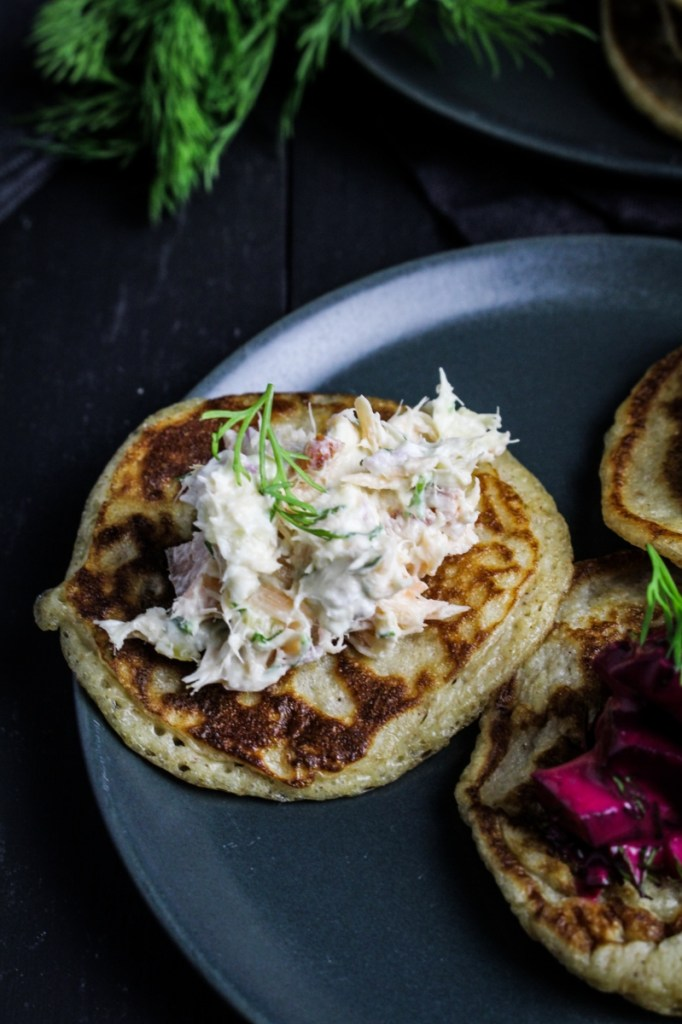 Hot-Smoked Salmon Dip on Rye Blini {Katie at the Kitchen Door}
