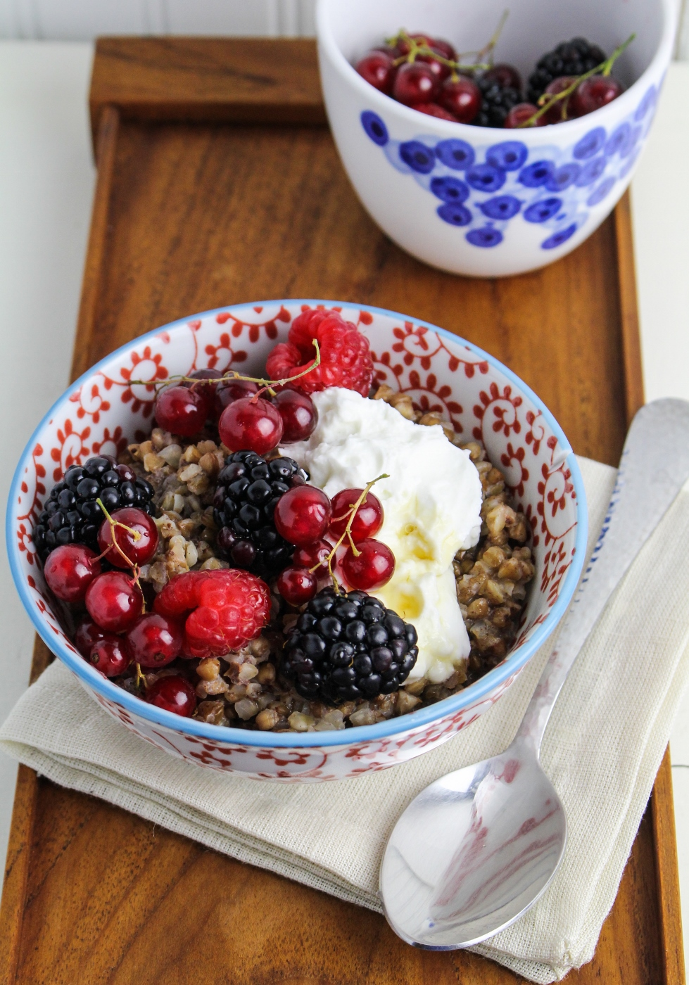 Buckwheat Porridge with Berries and Skyr {Katie at the Kitchen Door}