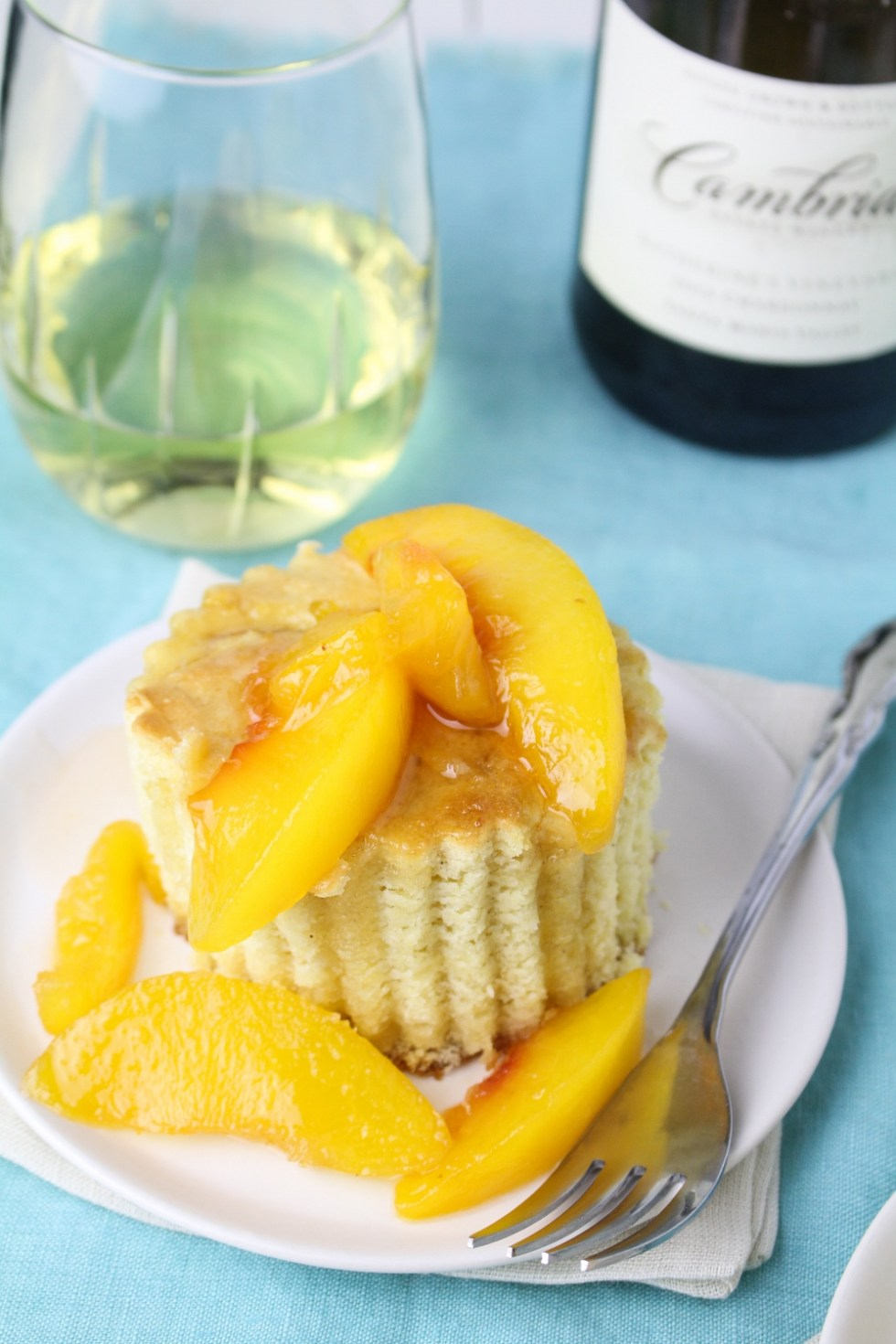 Maple Corn Cake with Chardonnay Peaches and Whipped Cream {Katie at the Kitchen Door}