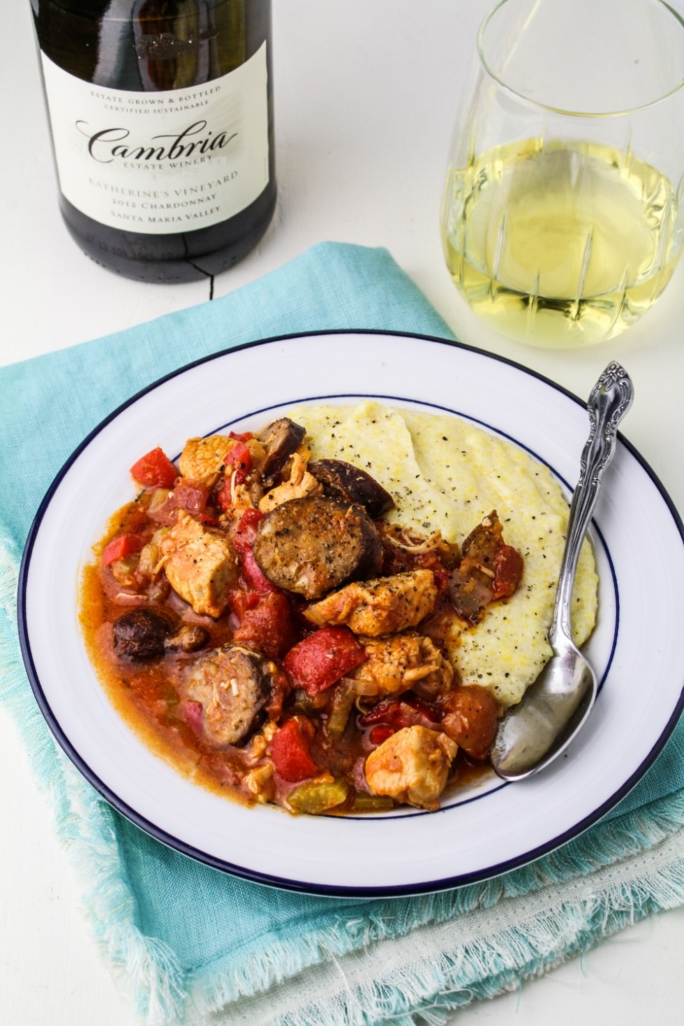 "Smoky ""Gumbo-Style"" Chicken Stew with Cheesy Gouda Grits {Katie at the Kitchen Door}"