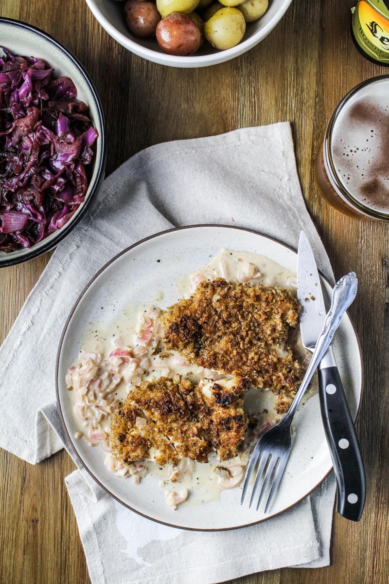 Rye Chicken Schnitzel with Mustard Sauce {Katie at the Kitchen Door}