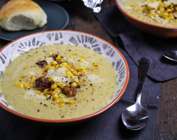Summer Goodbye // Harissa-Butter Roasted Corn Soup with Chorizo
