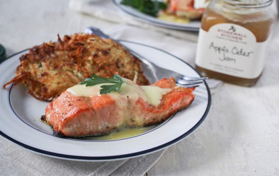 Apple-Cider-Jam-Glazed Salmon and Potato Latke Eggs Benedict {Katie at the Kitchen Door} #sponsored