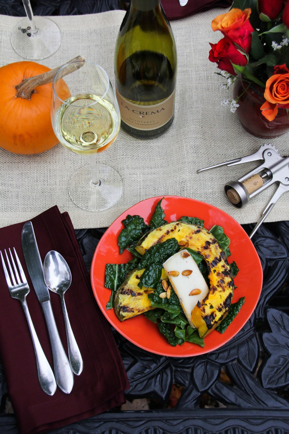 Harvest Pumpkin Dinner: Grilled Pumpkin and Raw Kale Salad {Katie at the Kitchen Door}