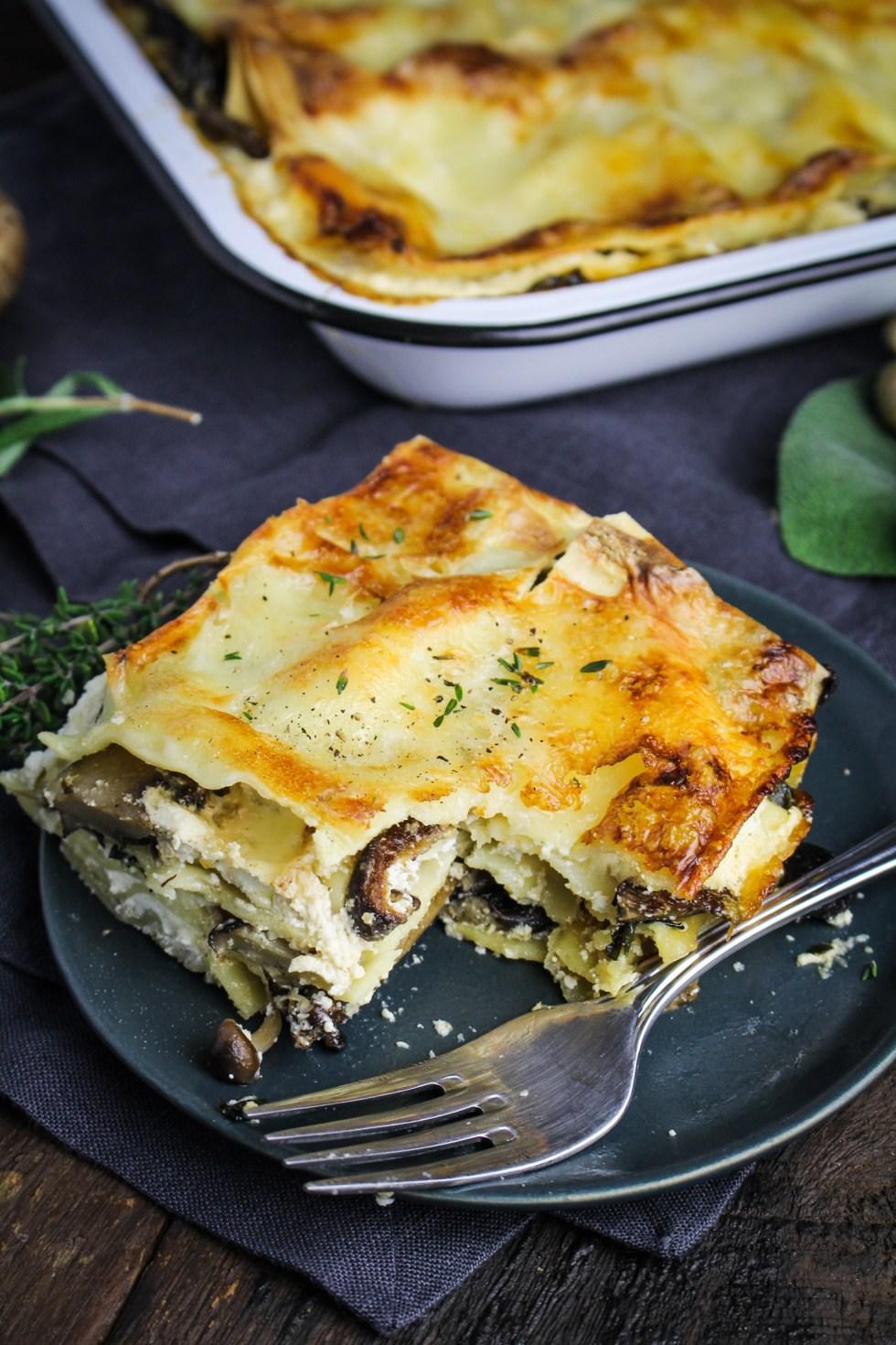 Wild Mushroom Lasagna {Katie at the Kitchen Door}