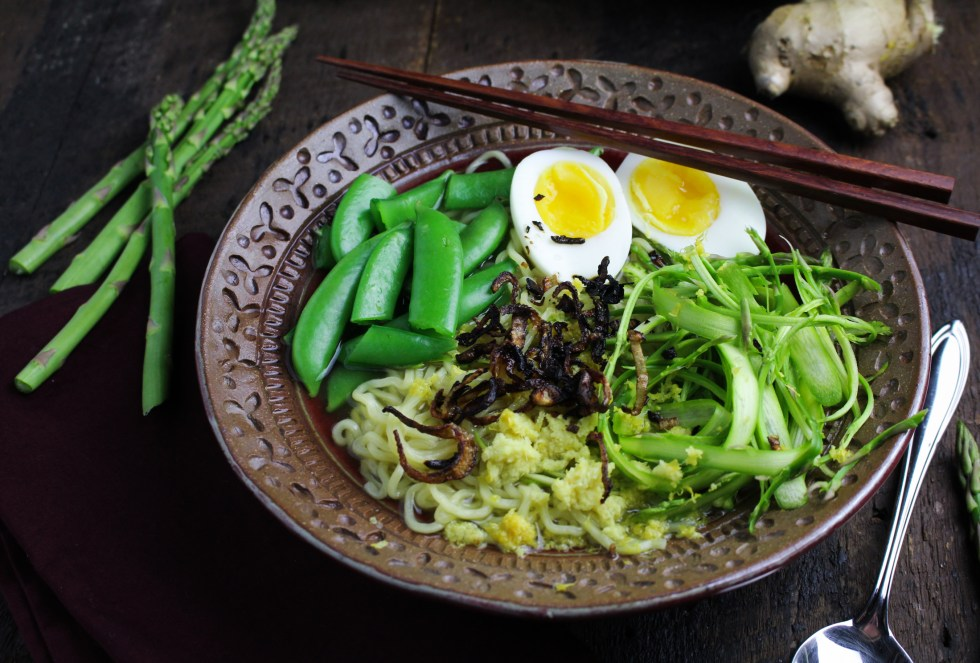 Vegetarian Spring Ramen with Aspragus, Snap Peas, Lemon, and Ginger {Katie at the Kitchen Door}
