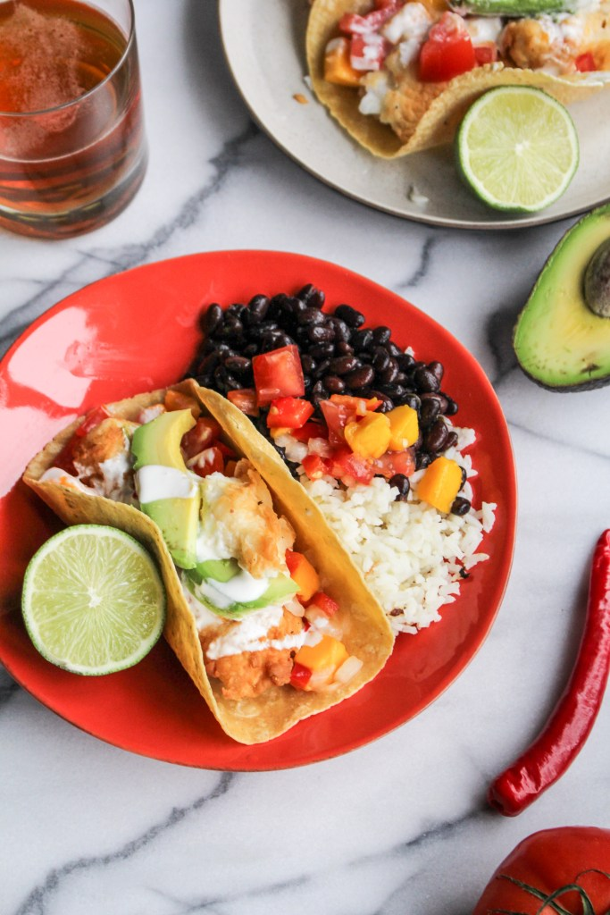 Fried Fish Tacos with Mango Salsa {Katie at the Kitchen Door}