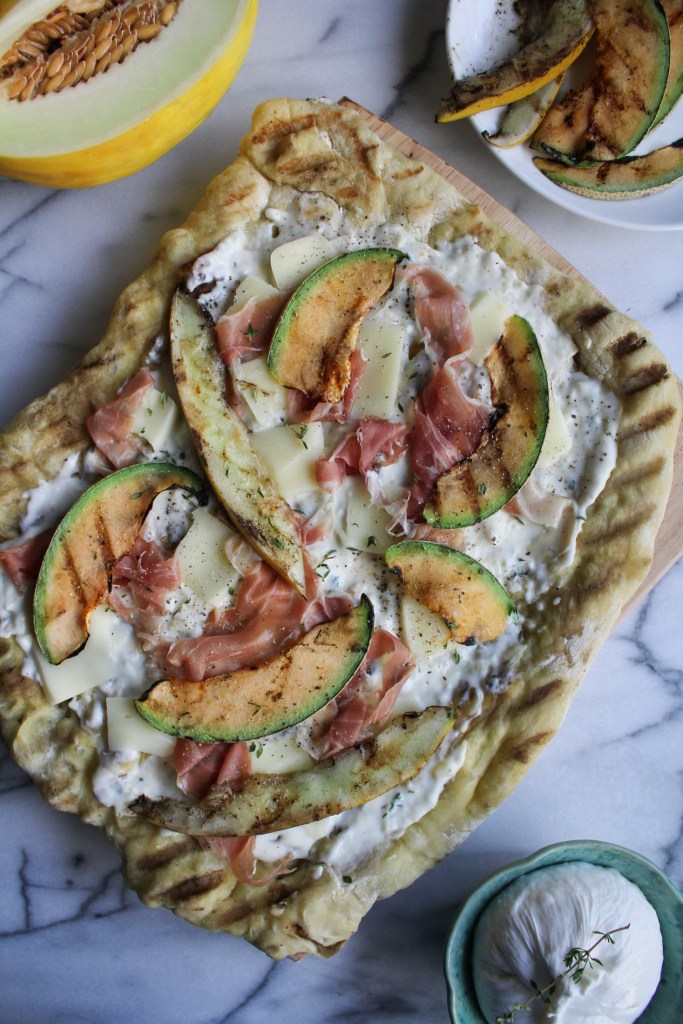Grilled Melon Pizza with Prosciutto and Burrata {Katie at the Kitchen Door}