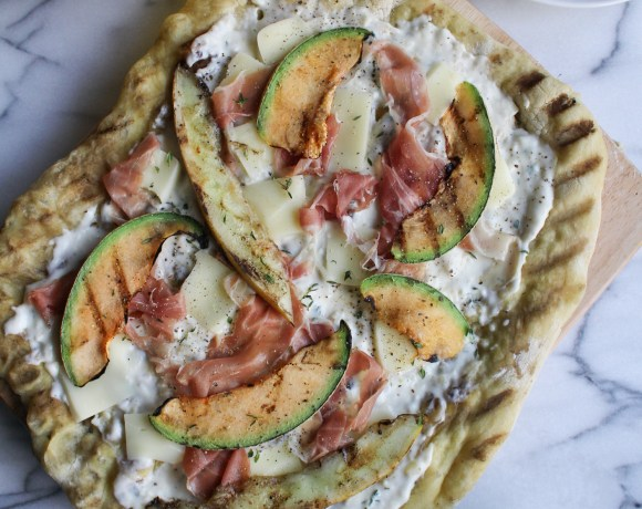 Grilled Melon, Prosciutto, and Burrata Pizza