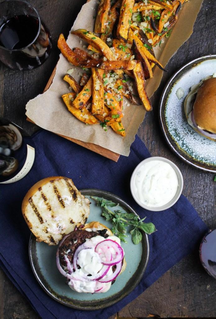 Greek Lamb Burgers and Sweet Potato Fries {Katie at the Kitchen Door}