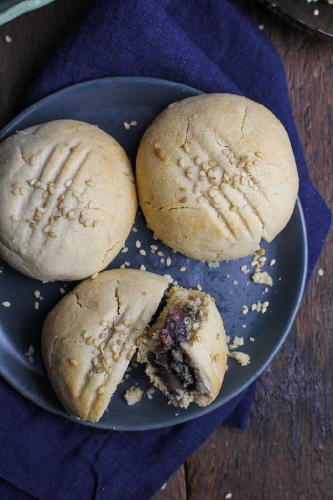 Red Bean Paste filled Sesame Cookies {Katie at the Kitchen Door}