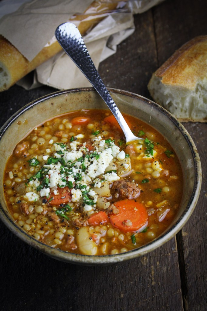 Spicy Chorizo Soup with Italian Couscous and Mole Sauce {Katie at the Kitchen Door}