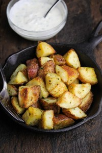 Serious Eats Best Ever Roast Potatoes with Garlic Cream - Sunday Dinner: Easter Edition {Katie at the Kitchen Door}