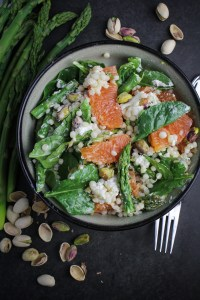 Lemony Israeli Couscous with Asparagus, Oranges, and Goat Cheese {Katie at the Kitchen Door}