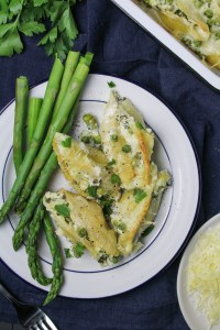 Goat Cheese Stuffed Shells with Asparagus and Peas {Katie at the Kitchen Door}