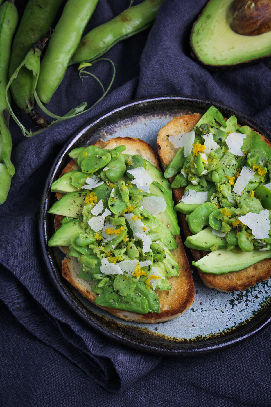 Avocado Toast with Fava Beans, Pecorino, and Meyer Lemon {Katie at the Kitchen Door}