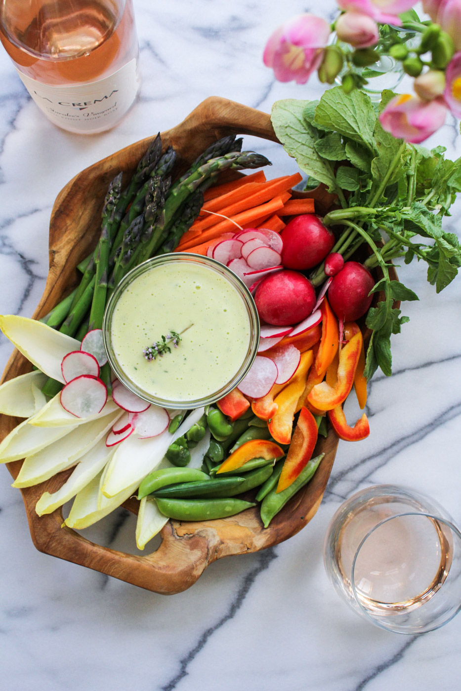 French Spring Dinner Menu - Spring Crudites with Herbed Aioli {Katie at the Kitchen Door}