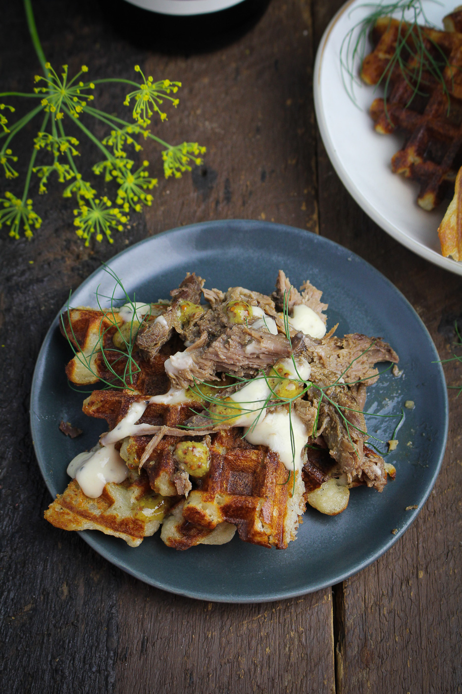 Mustard-Thyme Pulled Leg of Lamb on Mashed Potato Waffles {Katie at the Kitchen Door} - sponsored by La Crema Wines