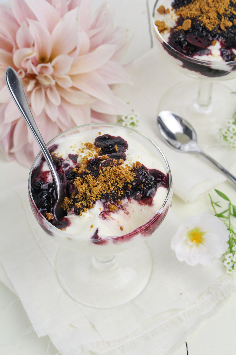 Skyr Mousse with Wild Blueberries and Gingerbread Crumbs {Katie at the Kitchen Door}
