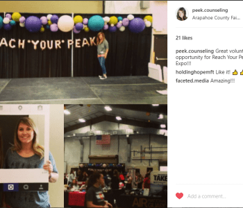 reach your peak expo, girls expo denver, peek counseling, katie bisbee-peak, volunteering, instagram