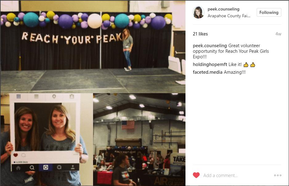 reach your peak expo, girls expo denver, peek counseling, katie bisbee-peak, volunteering, instagram