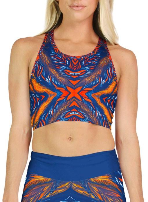 blue orange pattern crop top