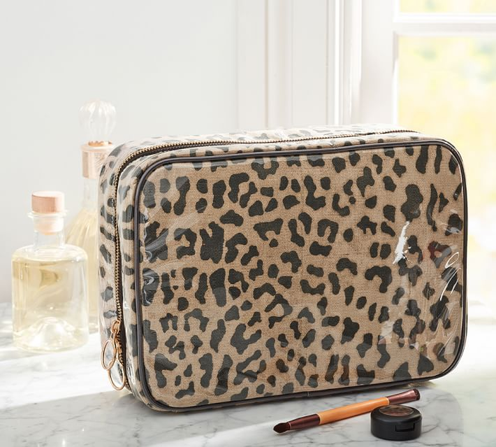 Large Leopard Print Cosmetic Travel