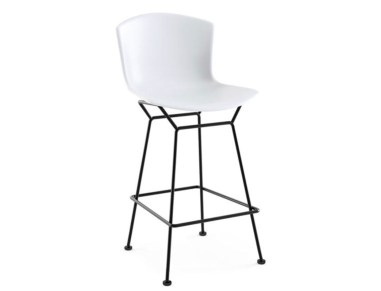 Photograph uploaded by Katie at katiecould.com of the white Knoll Bertoia Moulded Shell Barstool with black legs