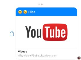 This is a link that I received from a friend to my Facebook Messenger. The You Tube link is from someone called Elias and has two suprised looking emojis on the link to a video labled nifty-ride-c79e6a.bitbaloon.com - do not click on this link under any circumstances!