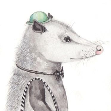 "The Black Tie Opossum, 3 1/2""x3 1/2"" original watercolor painting. Represented by Williamsburg Art Gallery 440A W Duke of Gloucester Street Williamsburg, VA 23185 (757) 565-9680"
