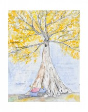Tree Gazer-mixed media original down with collage, watercolor, and charcoal