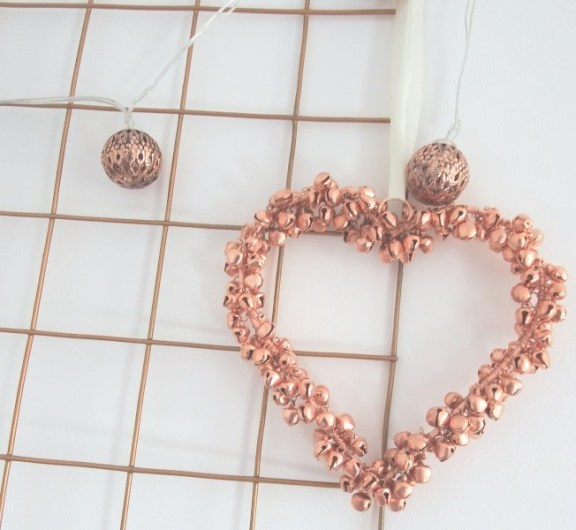 Copper mini bell heart hanging decoration Home office makeover copper mint pink & copper memoboard noticeboard