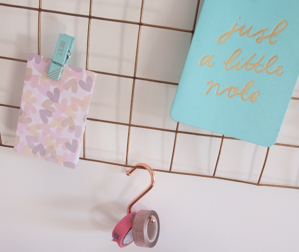 Copper Butchers Hooks Home office makeover copper mint pink & copper memoboard noticeboard
