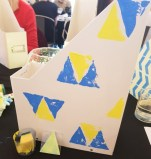 My Block Printed Folder - a white folder with blue and yellow triangles