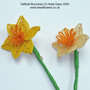 Spring Beading, Beaded Brooch for Daffodil