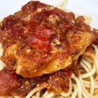 Crock Pot Chicken Spaghetti in Tomato Sauce