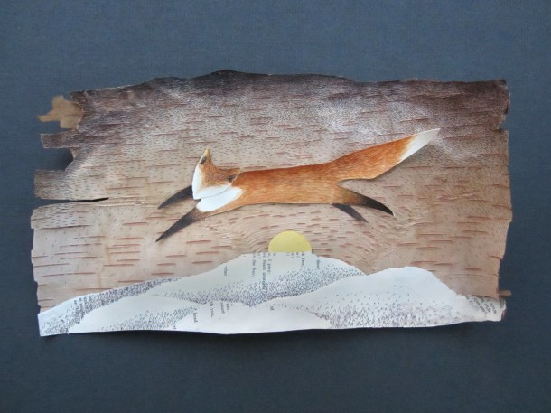 """""""Fox Greets the Rising Sun"""", watercolor, pen, and collage on birch bark."""