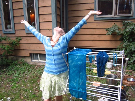 Feeling victorious after a successful day of dyeing