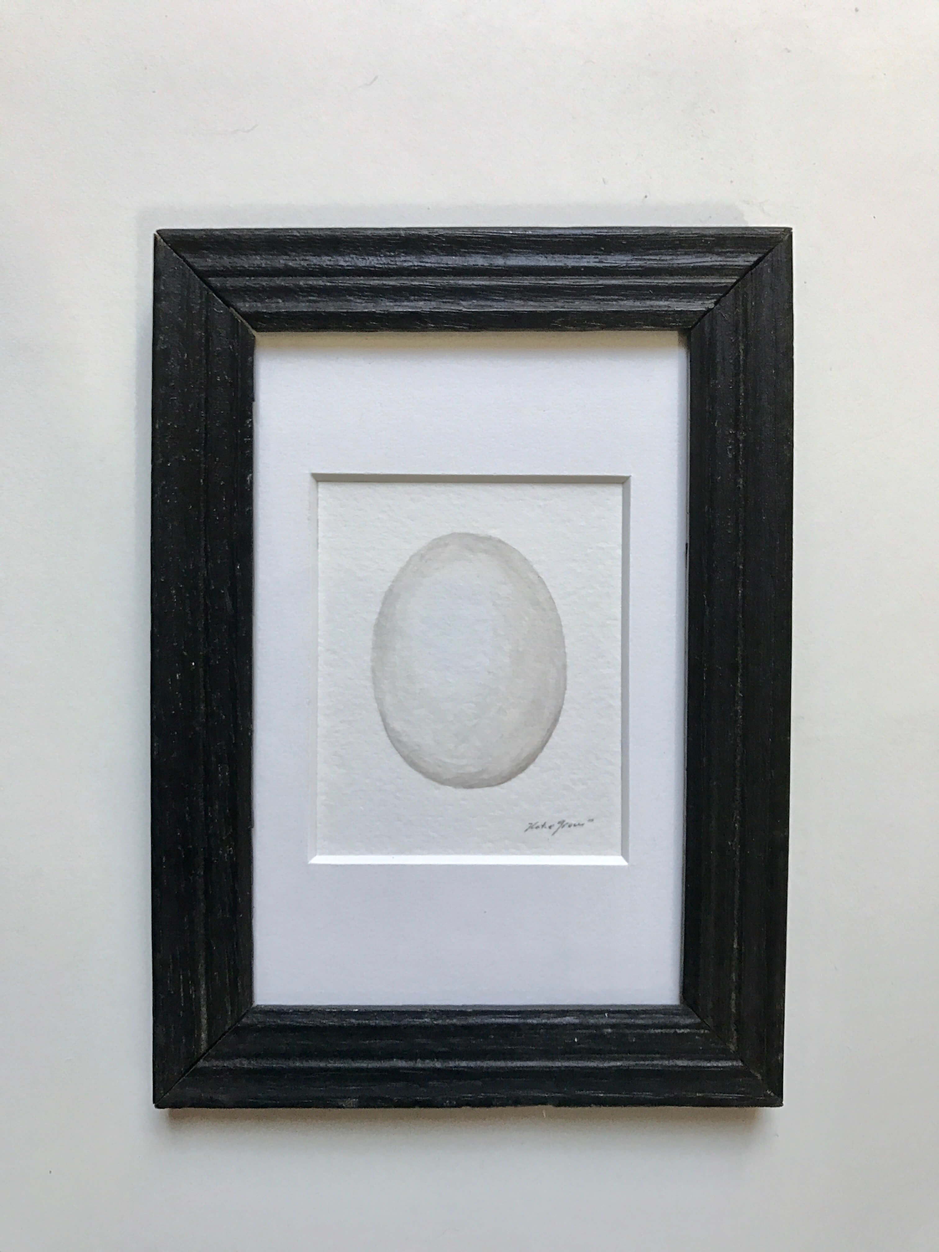 """Great Horned Owl Egg/ Watercolor In A Vintage Gold Painted Frame/ 7 1/4"""" X 5 1/4"""" / $85"""
