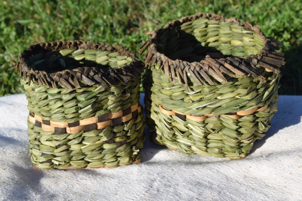 Twined cattail and Iris baskets