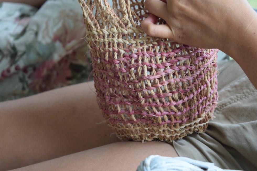 twined basswood bag with pokeberry dye