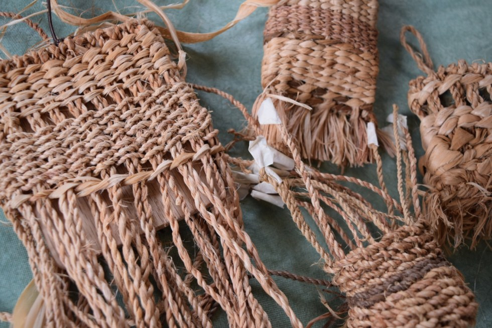twined basswood fiber bags