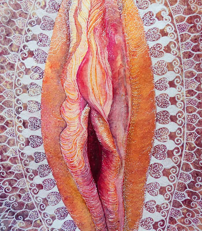 Vagina painting with a Yoni mandala in white pink and orange vulva art by Katie Lloyd