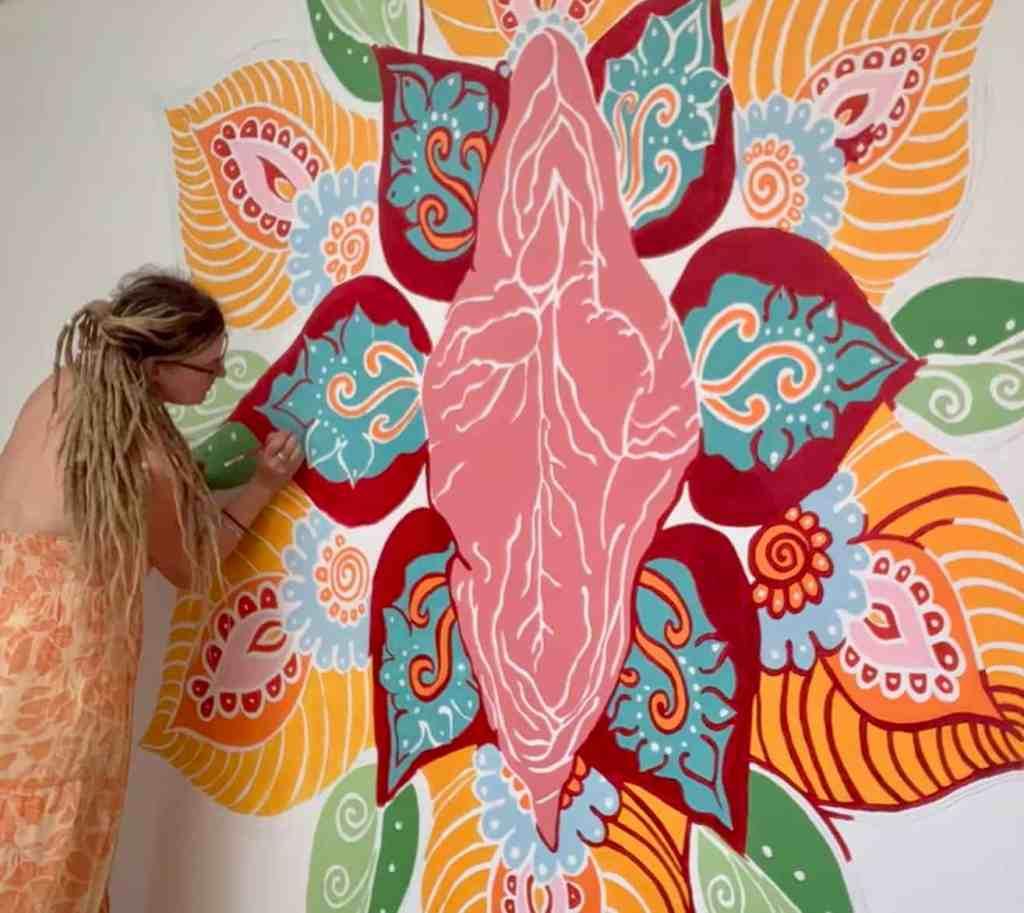 Katie Lloyd Artist painting vulva yoni art
