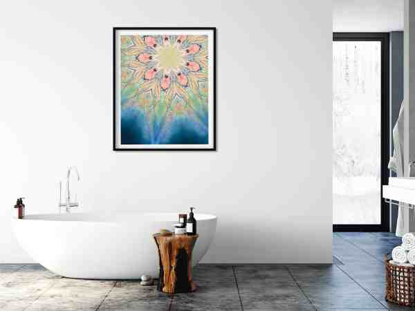 Yoni in bloom mandala on a bathroom wall