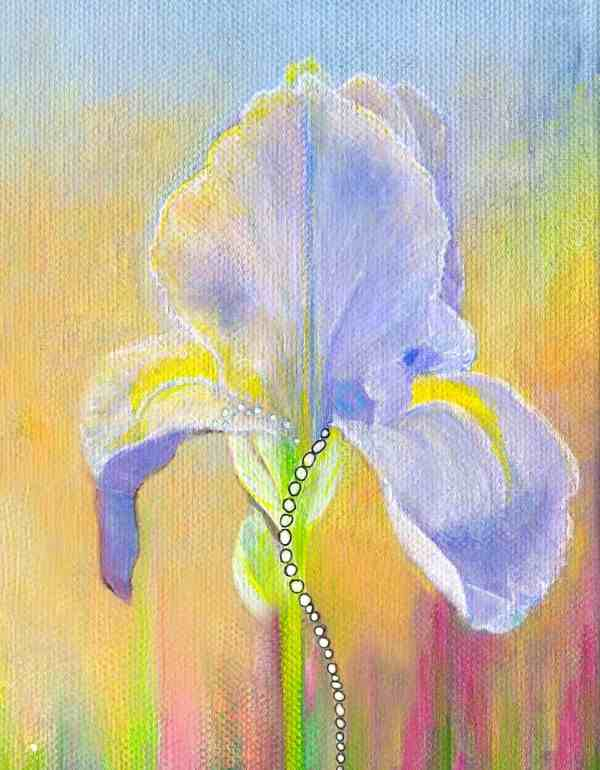 purple iris flower painting