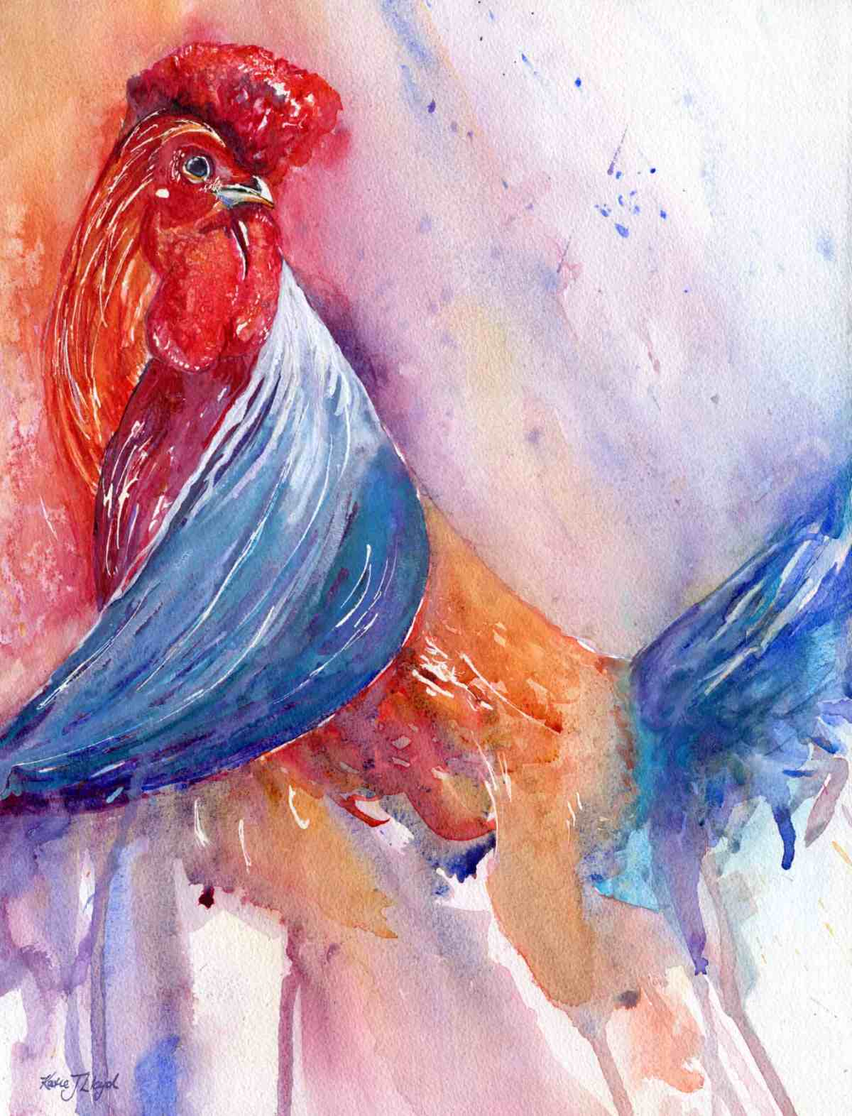 Watercolour Rooster artwork